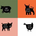 Grafiky zvířat pro řeznictví U Kusáků